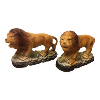 Vintage Staffordshire Style Lion Statues - a Pair For Sale