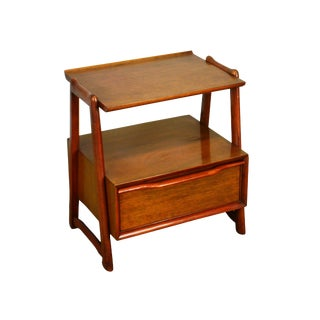 Mid Century Modern Mahogany 2 Tier Nightstand by Hickory For Sale