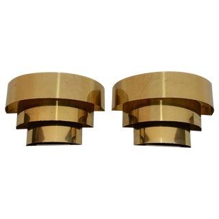 1970s Brass Sconces Design by Hans-Agne Jakobsson - a Pair For Sale