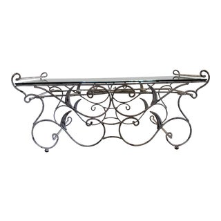 Unique Wrought Iron and Glass Table For Sale
