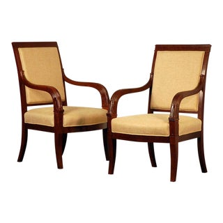 Pair of Chic French Empire Style Mahogany Armchairs For Sale