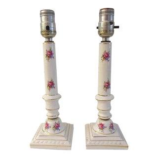 Mid-Century Pink Rose Floral Porcelain Lamps, a Pair For Sale