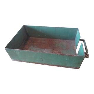 Vintage Industrial Green Painted Steel Drawer Bin Firewood Holder