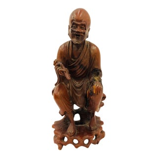 Antique Hand Carved Asian Figure For Sale