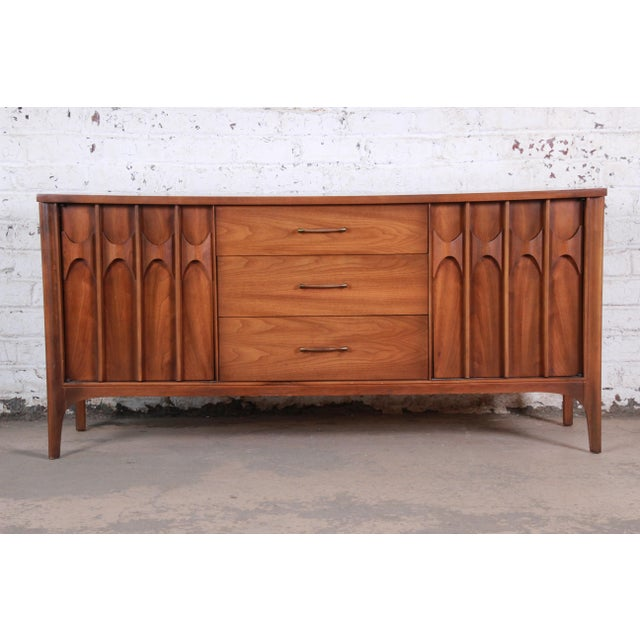 Kent Coffey Perspecta Sculpted Walnut and Rosewood Credenza For Sale - Image 11 of 11