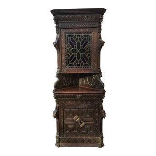 1900s Antique Oak Corner Cabinet For Sale