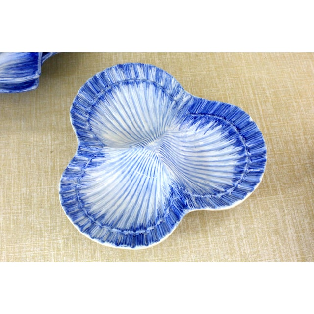 Blue Collection of Made in Portugal Blue and White Shell Pottery - Set of 8 For Sale - Image 8 of 13