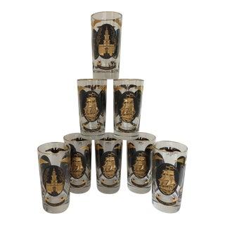 Black & Gold Patriotic Glassware - Set of 8 For Sale