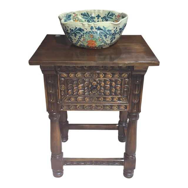Hand Carved Wooden Vanity & Hand Painted Sink For Sale