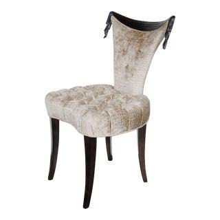 1940s Hollywood Regency Draped Chair by Grosfeld House in Ebonized Walnut For Sale