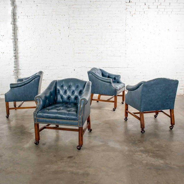 Blue Vinyl Faux Leather Chinese Chippendale Tub Style Rolling Game Chairs Set of Four For Sale - Image 13 of 13