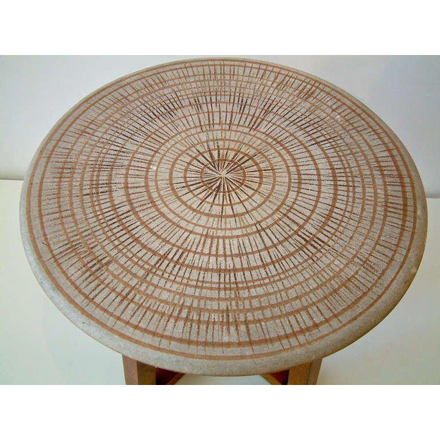 Mid-Century Modern Design Technics Ceramic and Walnut Table For Sale - Image 3 of 8