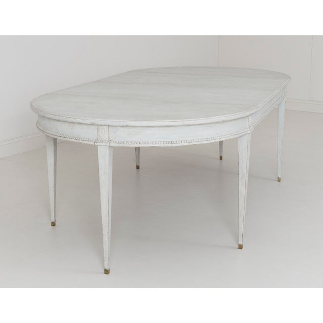 Gold Swedish Gustavian Style Two-Leaf Extension Dining Table With Original Brass Feet For Sale - Image 8 of 11