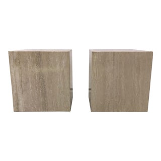 Mid-Century Modern Italian Travertine Cube Tables - a Pair For Sale