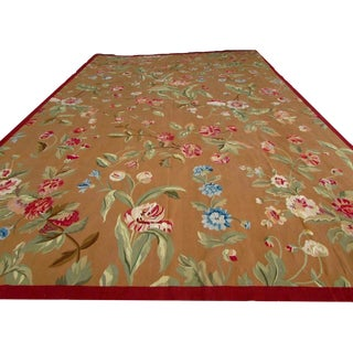 1980s, Handmade Vintage French Aubusson Oversize Rug 12.2' X 18.6' For Sale