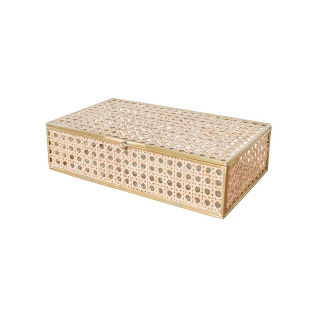 2010s Anaya Natural Cane Wicker Jewelry Decor Box - Large For Sale - Image 5 of 5