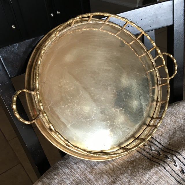 Vintage Faux Bamboo Brass Cocktail Tray - Image 3 of 6