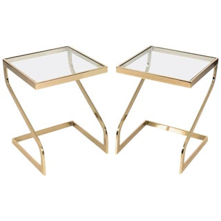 Brass Cantilever Side Tables - A Pair For Sale
