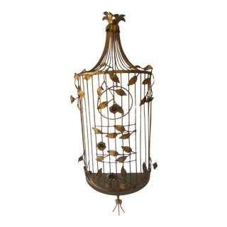Italian Gilt Tole Birdcage, 1960s For Sale