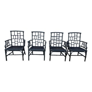 Chinese Chippendale Baker Milling Road Rattan Arm Chairs - Set of 4 For Sale