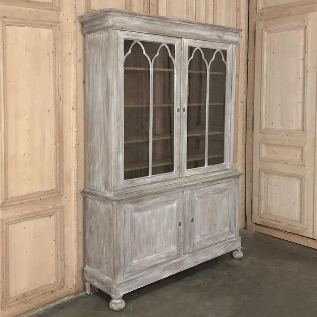 19th Century French Louis Philippe Period Whitewashed Bookcase For Sale - Image 4 of 13