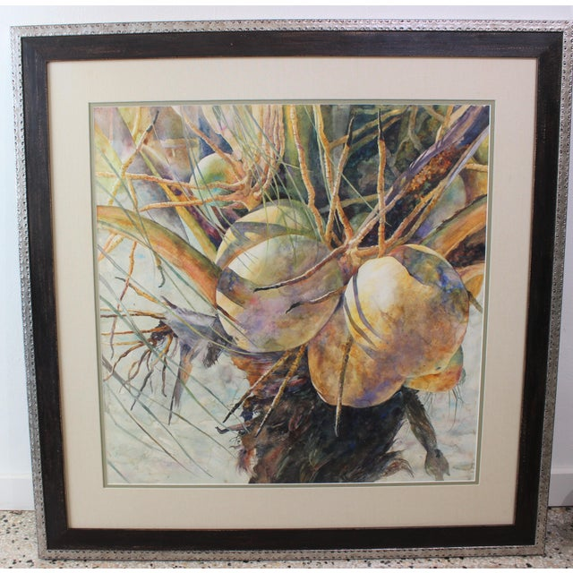 """Vintage Barbara Shipman Watercolor Painting """"Lots of Coconuts"""" For Sale - Image 13 of 13"""