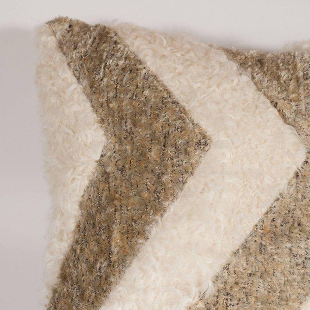 2000 - 2009 Custom Designed Chevron Pillow in Champagne and White Mongolian Lambswool For Sale - Image 5 of 10