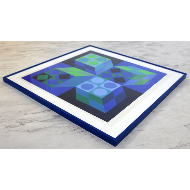 Mid-Century Modern Mid-Century Modern Framed Signed Numbered Op Art Litho Print Victor Vasarely For Sale - Image 3 of 6