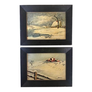 Oil on Wood Winter Scenes by Oldham - a Pair For Sale