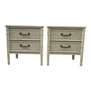 """Henry Link """"Bali Hai"""" Faux Bamboo Nightstands - a Pair"""