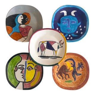 Vintage Mid Century Modern Rare Picasso Style Hand Painted Art Pottery Large Ceramic Plates - Set of 5 For Sale