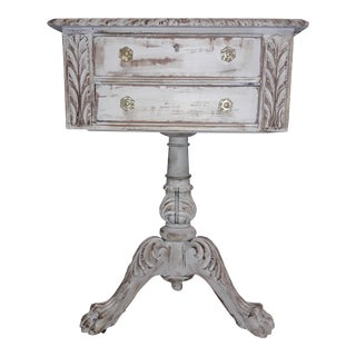 Antique Gustavian Style Ictorain Carved Nightstand Side Table