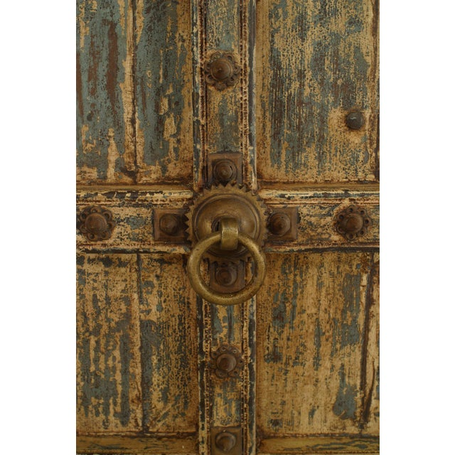 Asian Blue & White Distressed Painted and Carved Pair of Doors in a Frame For Sale - Image 4 of 8