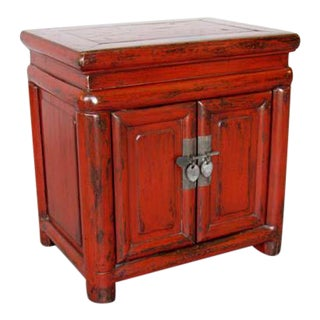 Late 20th Century Red Lacquered Nightstand For Sale