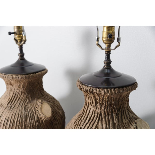 Contemporary Vintage Faux Bois Pottery Lamps - A Pair For Sale - Image 3 of 8