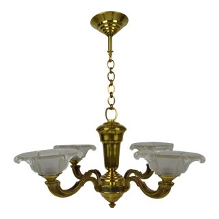 1950s Vintage French Art Deco Bronze and Brass Chandelier For Sale