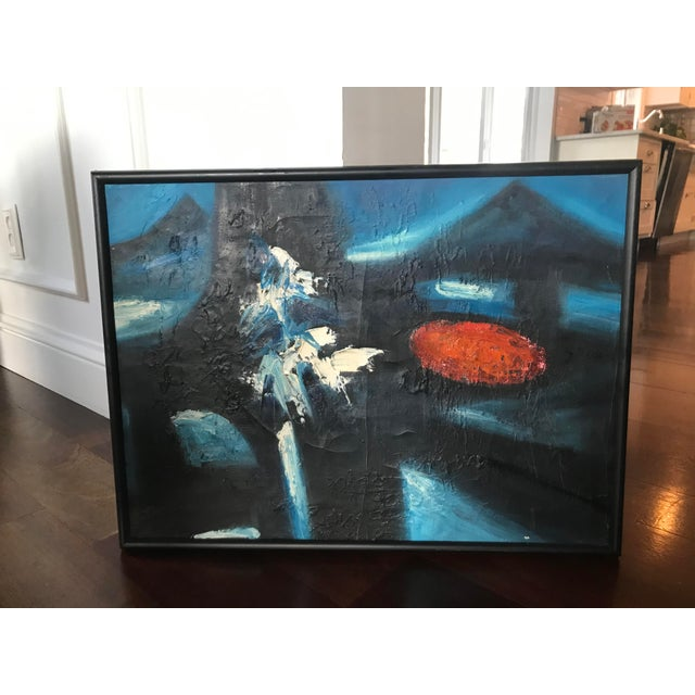 Vintage Mid-Century Modern Abstract Oil Painting Signed For Sale - Image 6 of 11