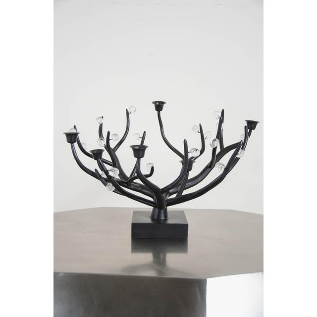 Black Hand Repousse Carved Black Copper and Crystal Candelabra by Robert Kuo, Limited Edition For Sale - Image 8 of 8