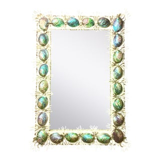 21st Century Contemporary Abalone Shell & Spider Coral Mirror For Sale