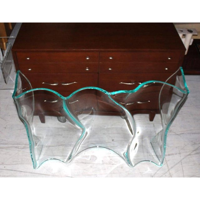 Outstanding Free-Form Molded Glass Wave Pattern Console Table For Sale - Image 10 of 10