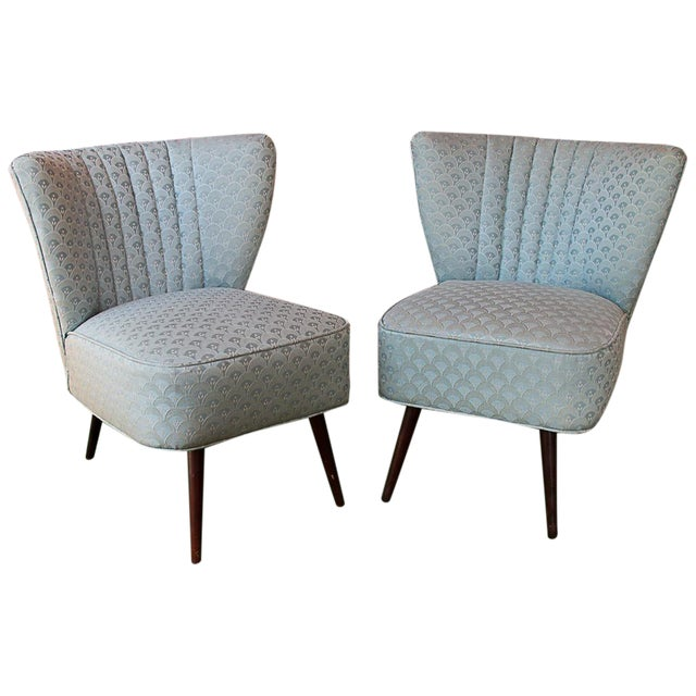 50's Era Slipper Chairs With Tapered Legs - A Pair - Image 1 of 10
