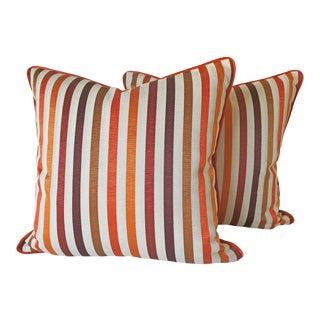 Hermes Ottoman and Houles Jaguar Velvet Pillows - a Pair For Sale
