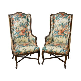 Emilia Interiors Custom French Louis XV Style Host Bergere Arm Chairs - a Pair