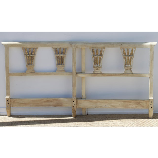 British Colonial Painted Regency Twin Headboards, a Pair For Sale - Image 3 of 9