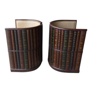 1980s Traditional Maitland Smith Library Barrel Chairs With Book Spine Coverings - a Pair For Sale