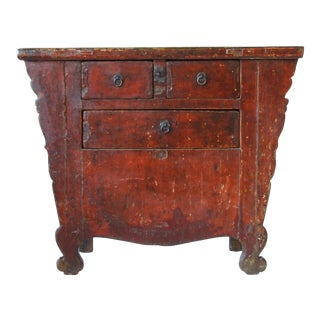 Antique Chinese Hand-Carved Elmwood Coffer For Sale