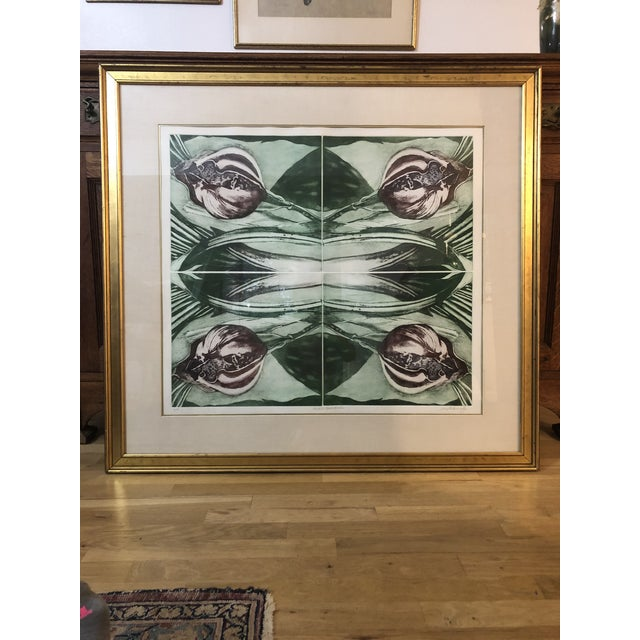 """Green 1970s Vintage Artist Proof """"Orchid Mirror Variation"""" Print by Lois Polansky For Sale - Image 8 of 8"""