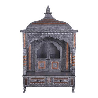 1970s Oxidized Aluminum and Copper Puja Manir Temple For Sale