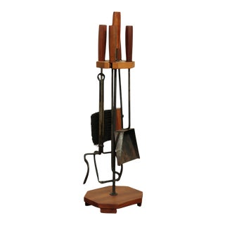 Mid Century Modern Sculpted Walnut & Iron Set Fireplace Tools For Sale