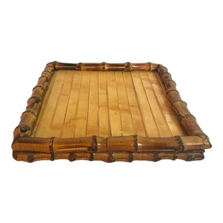 Vintage Boho Chic Bamboo Platform Tray For Sale